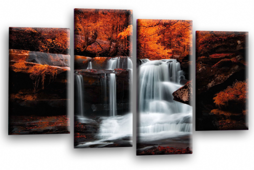 Forest Waterfall Canvas Wall Art Picture Print Orange Black Grey